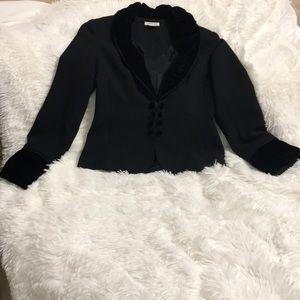 Black dressy jacket with velvet trim
